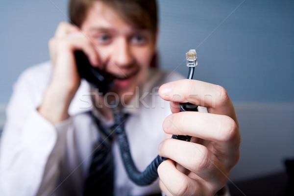 Photo stock: Téléphone · fil · humaine · affaires · sourire · homme
