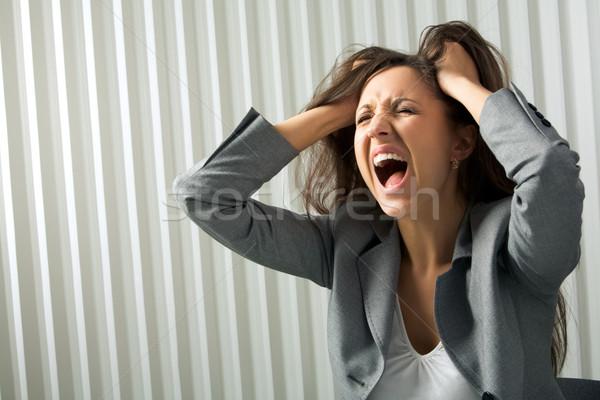 Rozpacz Fotografia depresji kobiet krzyczeć działalności Zdjęcia stock © pressmaster