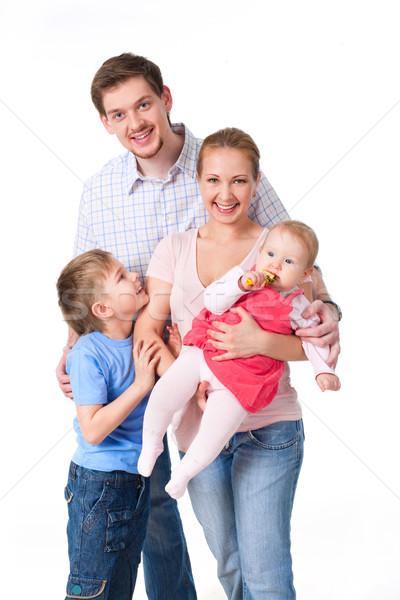 Stock fotó: Barátságos · családi · portré · család · fehér · mosoly · szeretet