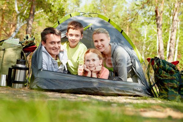 çadır portre aile bakıyor kamera Stok fotoğraf © pressmaster