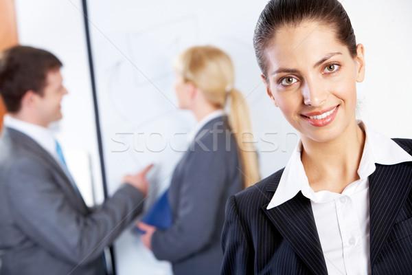 Stockfoto: Vrouwelijke · werkgever · portret · gelukkig · leider · twee