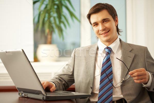 Сток-фото: человека · портрет · бизнесмен · очки · глядя · камеры
