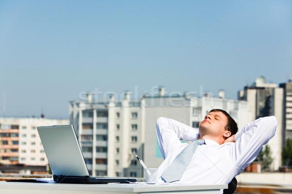 минута изображение человека сидят таблице Сток-фото © pressmaster