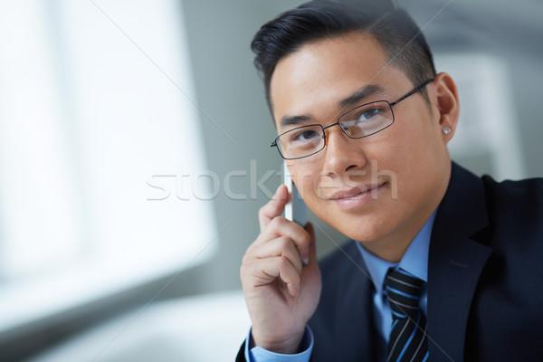 Foto stock: Homem · chamada · jovem · empresário · telefone