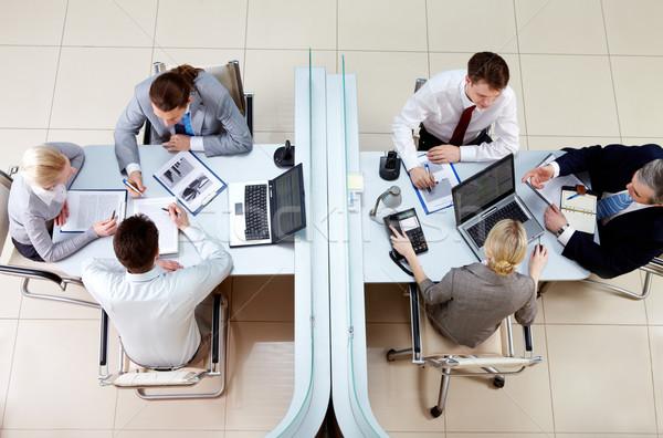 Zdjęcia stock: Pracy · ludzi · widok · z · góry · dwa · działalności · zespoły