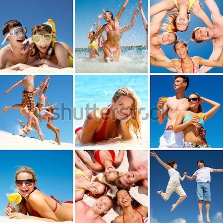 Család nyaralások kollázs képek szórakozás tengerpart Stock fotó © pressmaster