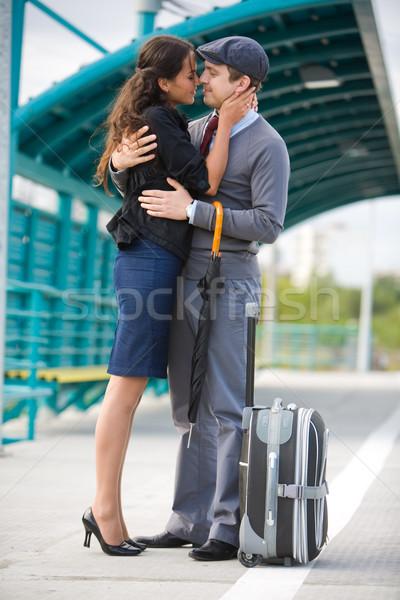 Intimitás fotó csinos lány fiúbarát átkarol Stock fotó © pressmaster