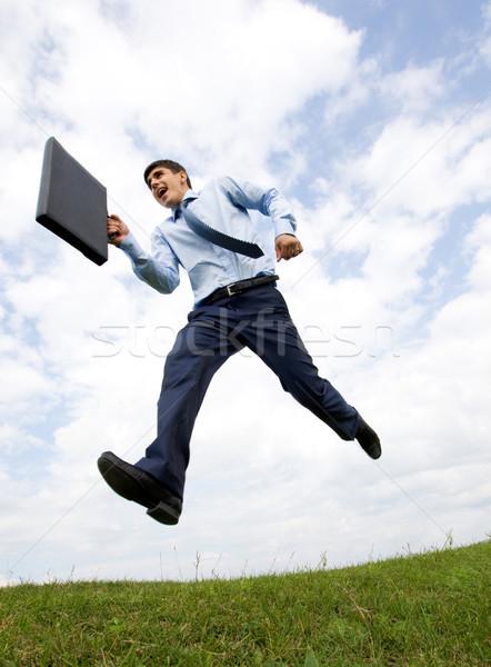 Сток-фото: успешный · лидера · красивый · бизнесмен · портфель · стороны