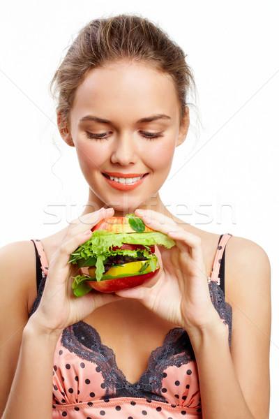 Faim portrait joli jeune fille regarder légumes Photo stock © pressmaster