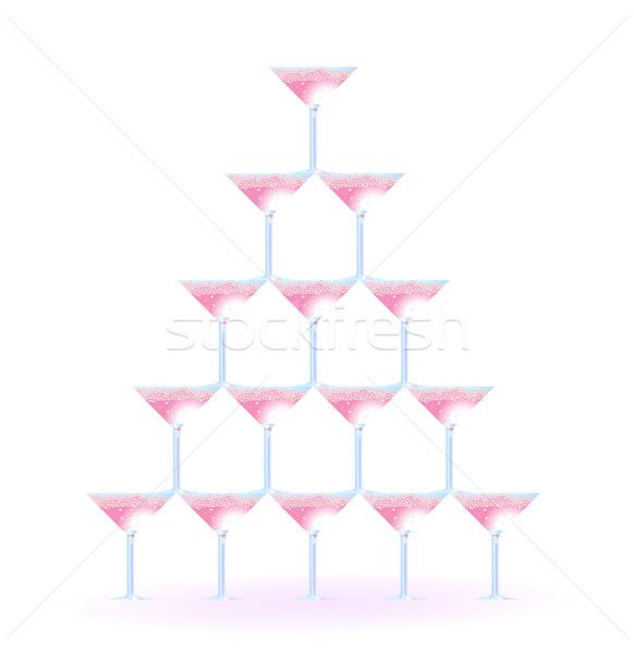 Martini gözlük biçim kule düğün parti Stok fotoğraf © pressmaster