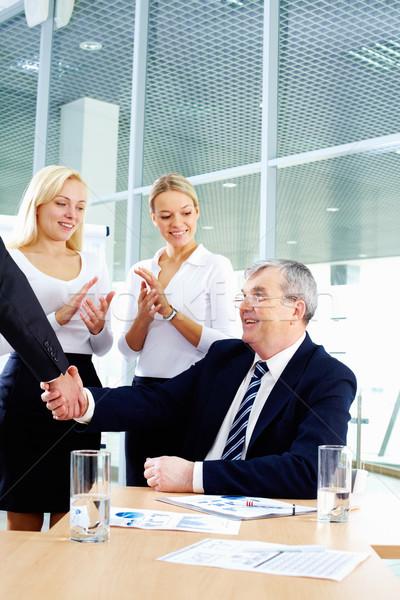Stock photo: Handshake of boss