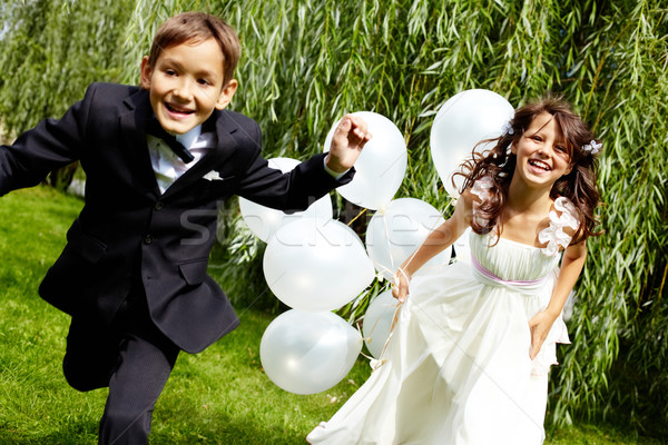 портрет смеясь детей невеста жених шаров Сток-фото © pressmaster