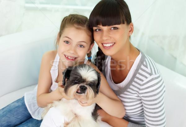 友達 肖像 幸せな女の子 母親 ペット ストックフォト © pressmaster