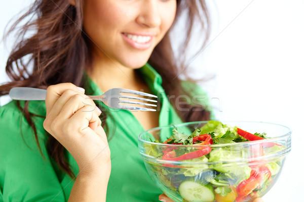 Stock fotó: Diéta · közelkép · csinos · lány · eszik · friss · zöldség