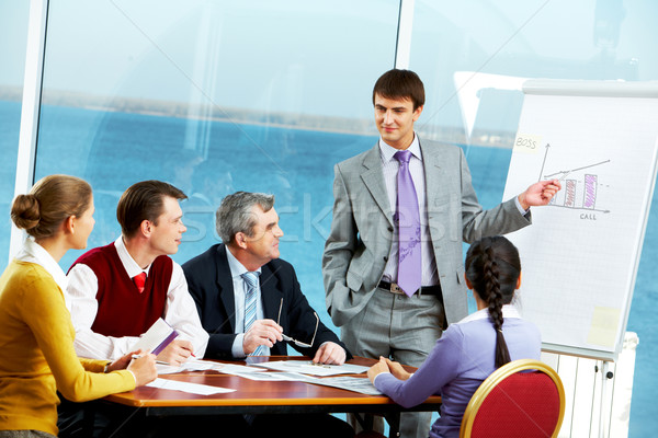 プレゼンテーション 写真 小さな ビジネスマン 立って ボード ストックフォト © pressmaster