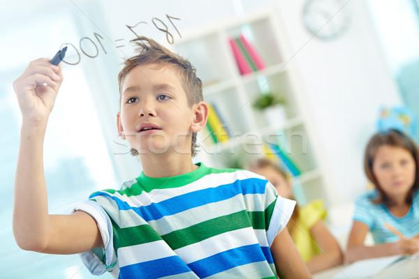 Photo stock: Astucieux · écolier · portrait · garçon · transparent · bord