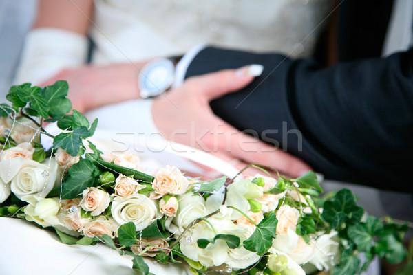 Photo stock: Mariage · image · bouquet · fleurs · main · amour