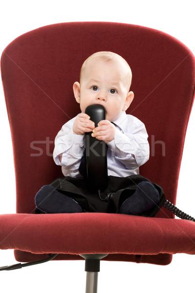 Telefonbeszélgetés portré baba fiú ül fotel Stock fotó © pressmaster