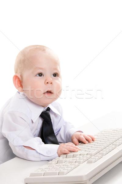 Stock fotó: Számítógép · munka · portré · komoly · baba · fiú