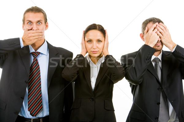 Nem csetepaté üzleti partnerek befejezés szemek száj Stock fotó © pressmaster
