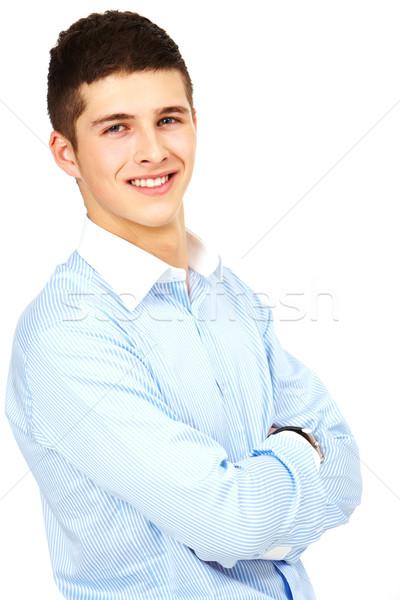 Zdjęcia stock: Młody · człowiek · portret · młodych · przystojny · biznesmen · broni