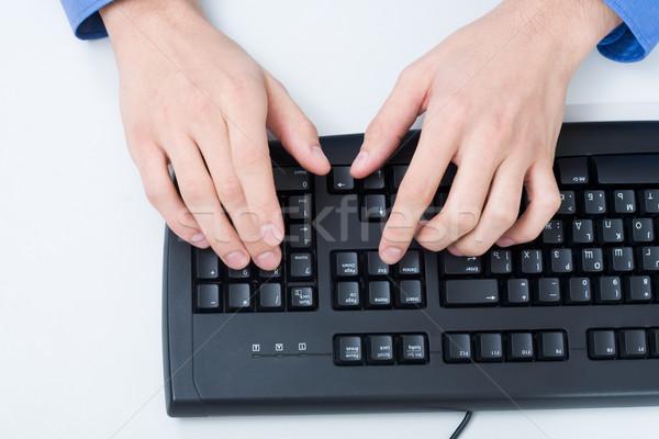 Empujando botones primer plano masculina mano tocar Foto stock © pressmaster