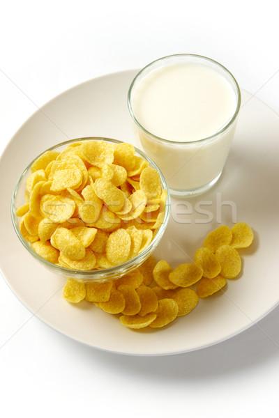Gabonapehely tej kép csésze tányér üveg Stock fotó © pressmaster