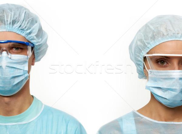 Zdjęcia stock: Dwa · maski · odizolowany · biały · kobieta