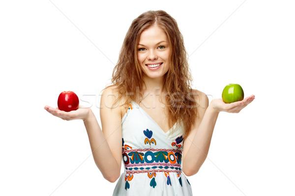Menina maçãs retrato vermelho verde Foto stock © pressmaster