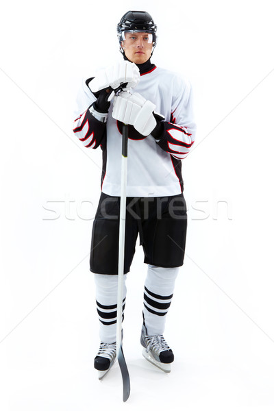 Stockfoto: Speler · portret · hockey · stick · macht · persoon