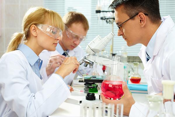 Laboratório estudar grupo novo substância mulher Foto stock © pressmaster