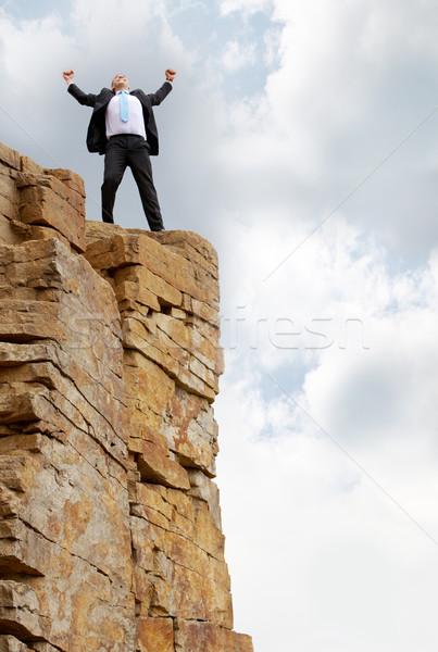 Overwinning foto opgewonden zakenman permanente berg Stockfoto © pressmaster