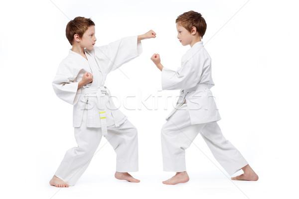 Listo pequeño gemelos uniforme judo Foto stock © pressmaster