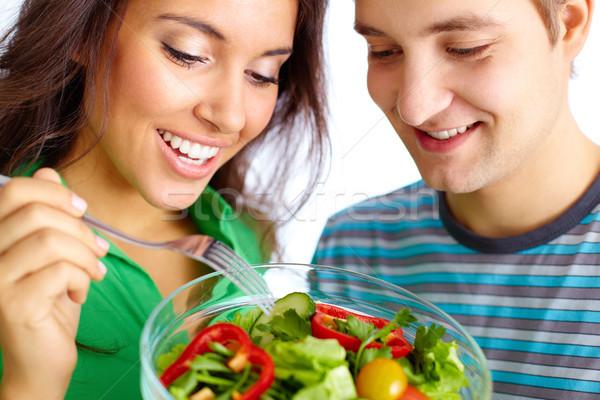 Stock fotó: Zöldség · reggeli · fiatal · pér · eszik · saláta · család