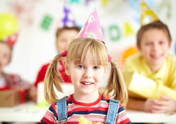 празднование дня рождения радостный девушки рождения Cap Сток-фото © pressmaster