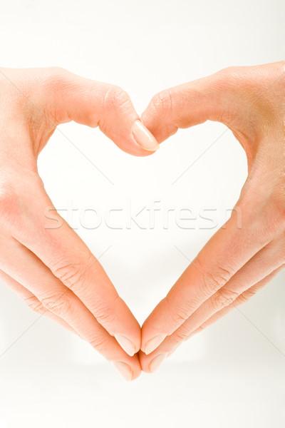 Stock fotó: Szív · űrlap · alakú · női · kezek · fehér
