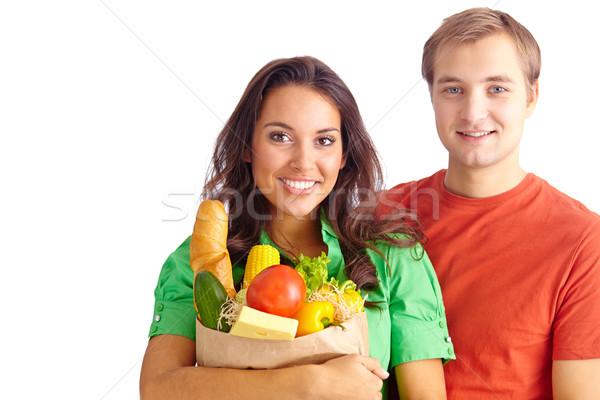 Stock fotó: Boldog · pár · egészséges · étkezés · néz · kamera · család