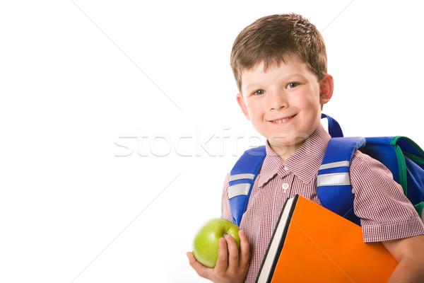 Stockfoto: Jongen · appel · portret · cute · schooljongen
