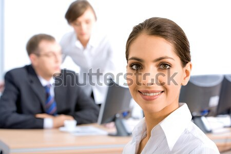 Stockfoto: Vrouw · gezicht · mooie · vrouwelijke · naar · camera · glimlach