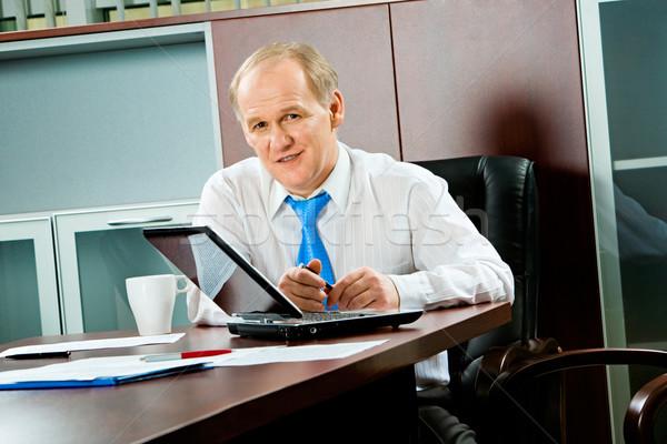 Stock foto: Ernst · Chef · Porträt · Senior · Geschäftsmann · Sitzung