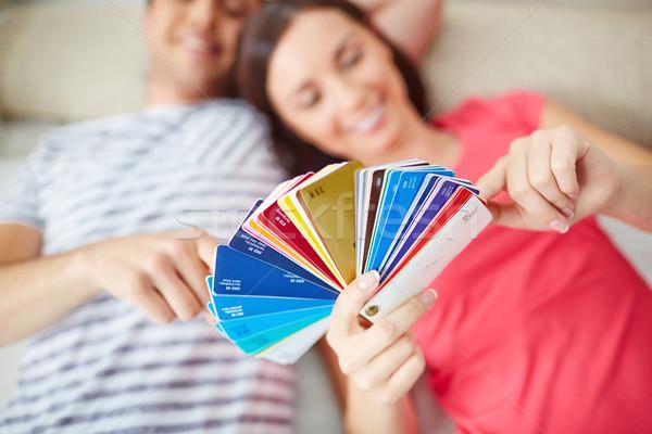 Megbeszél paletta boldog fiatal pér padló új ház Stock fotó © pressmaster