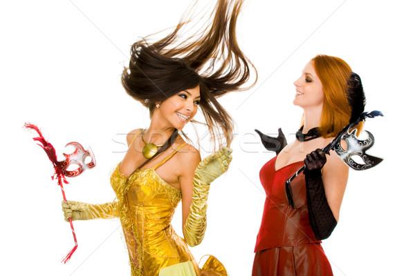 Juguetón mujeres foto alegre de moda vestidos Foto stock © pressmaster