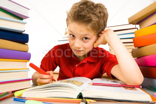 Studeren portret cute jongeling vergadering literatuur Stockfoto © pressmaster