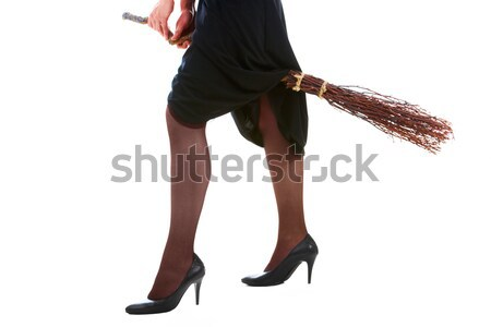 Witch on broom Stock photo © pressmaster