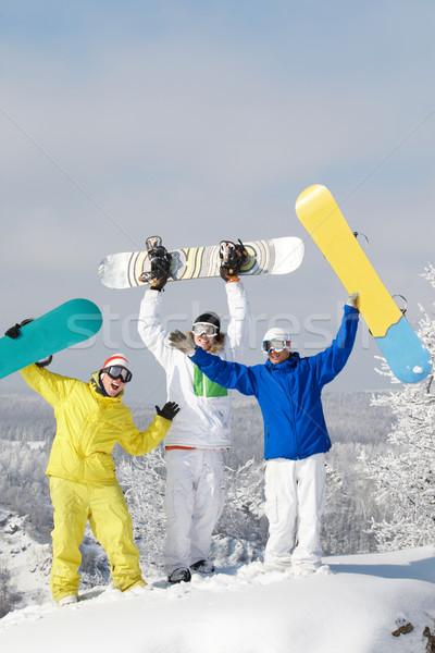 Joyful snowboarders Stock photo © pressmaster