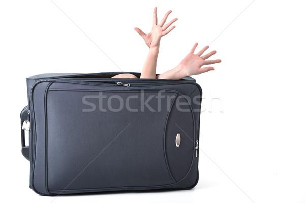 багаж фото большой черный чемодан женщины Сток-фото © pressmaster