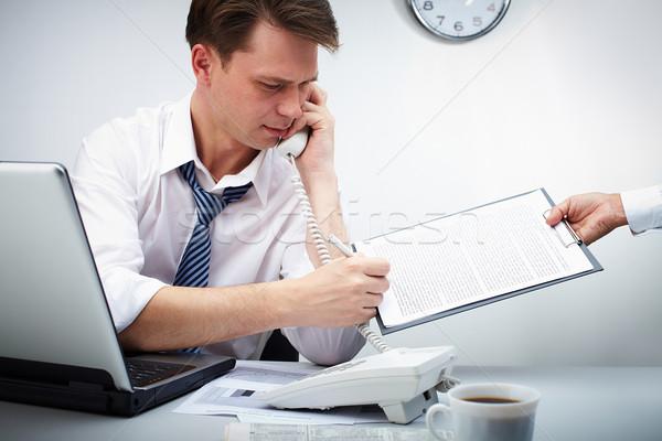 ストックフォト: 忙しい · 作業 · 肖像 · ビジネスマン · 呼び出し · 電話