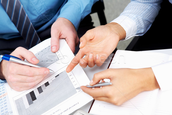 Foto stock: Negocios · gráficos · lugar · trabajo · documentos · documentos