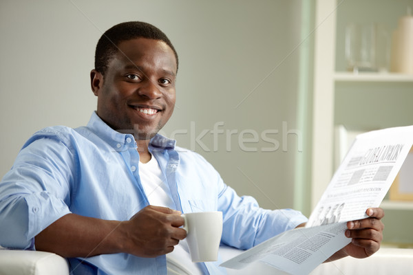 Photo stock: Guy · journal · image · jeunes · africaine · homme