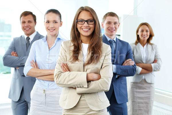 Stock fotó: üzlet · cég · portré · öt · üzletemberek · néz